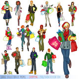 Large collection of people with shopping bags Royalty Free Stock Photos