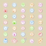 Large collection of round smiley icons Stock Images