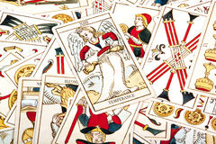 Large Collection of Scattered Colored Tarot Cards Royalty Free Stock Image