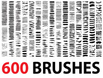 Large collection or set of 600 brush strokes. Very large collection or set of 600 artistic black paint hand made creative brush strokes isolated on white Stock Image