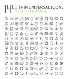 Large collection of thin universal web icon set. 144 thin universal web icon set for your flat design isolated on white Royalty Free Stock Images