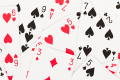 Large collection of used playing cards Stock Images