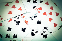Large collection of used playing cards, closeup Royalty Free Stock Images