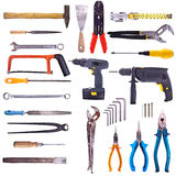 Large Collection Of Used Tools. Completely isolated on white. High Detail royalty free stock photos