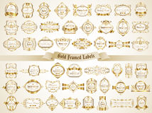 Large collection of white gold-framed labels in vintage style Stock Image