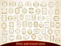 Large collection of white gold-framed labels in vintage style Stock Images