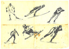 A large collection of winter sports. Hand drawn a large collection of winter sports - skiing and speed skating. Detailed and precise work. (For similar images stock illustration