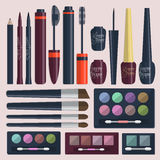 Large collection of womens cosmetics for the eyes on a pink background. Vector Stock Photo