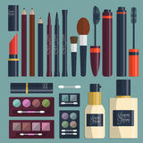 Large collection of womens cosmetics on the table with place for your text. Vector Stock Images