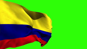 Large colombia national flag blowing stock video footage