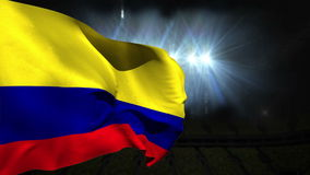 Large colombia national flag waving stock video footage