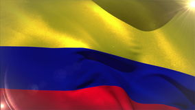 Large colombia national flag waving stock footage