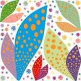 Large color leaves bright pattern symmetrical background stock illustration