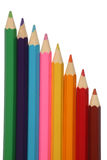 Large color pencils. Lined up Stock Photo