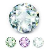 Large colored jewelery diamonds with rhinestones and bright shine. Illustration of white background vector illustration
