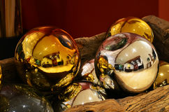 Large colored spheres decorated gold and silver. Details Large colored spheres decorated gold and silver Stock Image