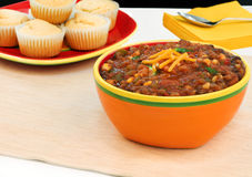 Large, Colorful Bowl Of Vegetarian Chili Stock Photos