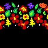 Large colorful flowers on black horizontal seamless border, vector Stock Image