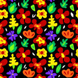 Large colorful flowers on black seamless pattern, vector Stock Photo