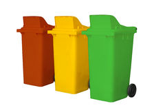 Large colorful garbage bins isolate on white background Stock Photography