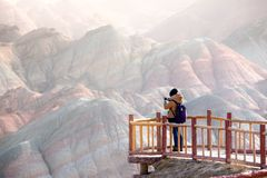 Large colorful mountains in China Royalty Free Stock Photo