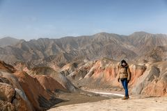 Large colorful mountains in China Royalty Free Stock Image
