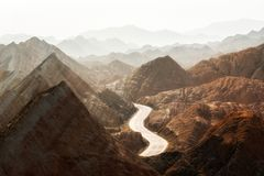 Large colorful mountains in China Stock Image