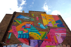Large Colorful Mural Stock Photo