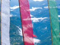 Large colorful prayer flags at Sikkims ancient capitol Rabdentse Royalty Free Stock Images