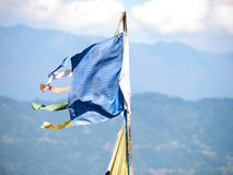 Large colorful prayer flags at Sikkims ancient capitol Rabdentse Stock Photo