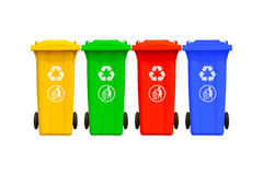 Large colorful trash cans collection Stock Image