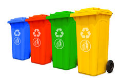 Large colorful trash cans collection Royalty Free Stock Photography