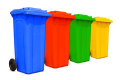 Large colorful trash cans collection Stock Photos