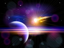 Large comet flying to the blue planet Royalty Free Stock Images