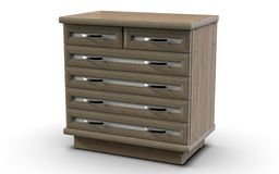 Large, comfortable and roomy chest of drawers for six drawers. Chest, which has six drawers with MDF overlays on the facades, as well as the perimeter of the lid Royalty Free Stock Photography