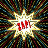 Comic Book Style Graphic with Power Words in Star Burst Royalty Free Stock Images