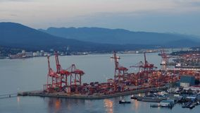 Large Commercial Shipping Port In The Evening stock footage