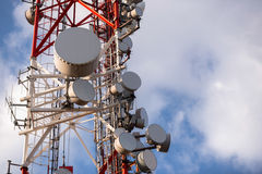 Large Communication tower against sky Stock Photography