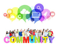 Large Community of Social Networking Stock Photo