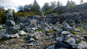A large concentration of stones in the Park Ruskeala Stock Photography
