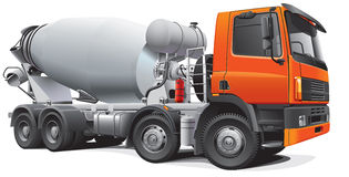 Large concrete mixer. Detail vector image of modern large concrete mixer, isolated on white background. File contains gradients. No blends and strokes. Easily Royalty Free Stock Photo