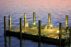 Large concrete pontoon at sunrise Stock Images