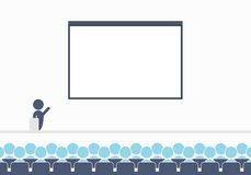Large conference hall with blank screen. Flat simple vector illustration stock illustration