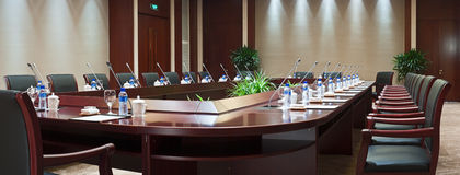 Large conference room in hotel. Panoramic view of large conference room in hotel Stock Photo