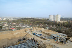 Large construcion site of a new residential complex. Stock Photo
