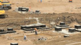 Large construction of large complex of buildings stock video footage