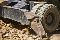 Large Construction Excavation, wheels detail Royalty Free Stock Photo
