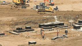 Large construction of large complex of buildings stock video