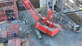 Large construction of the object from metal structures stock footage