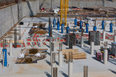 Large construction site with concrete foundation Royalty Free Stock Photography